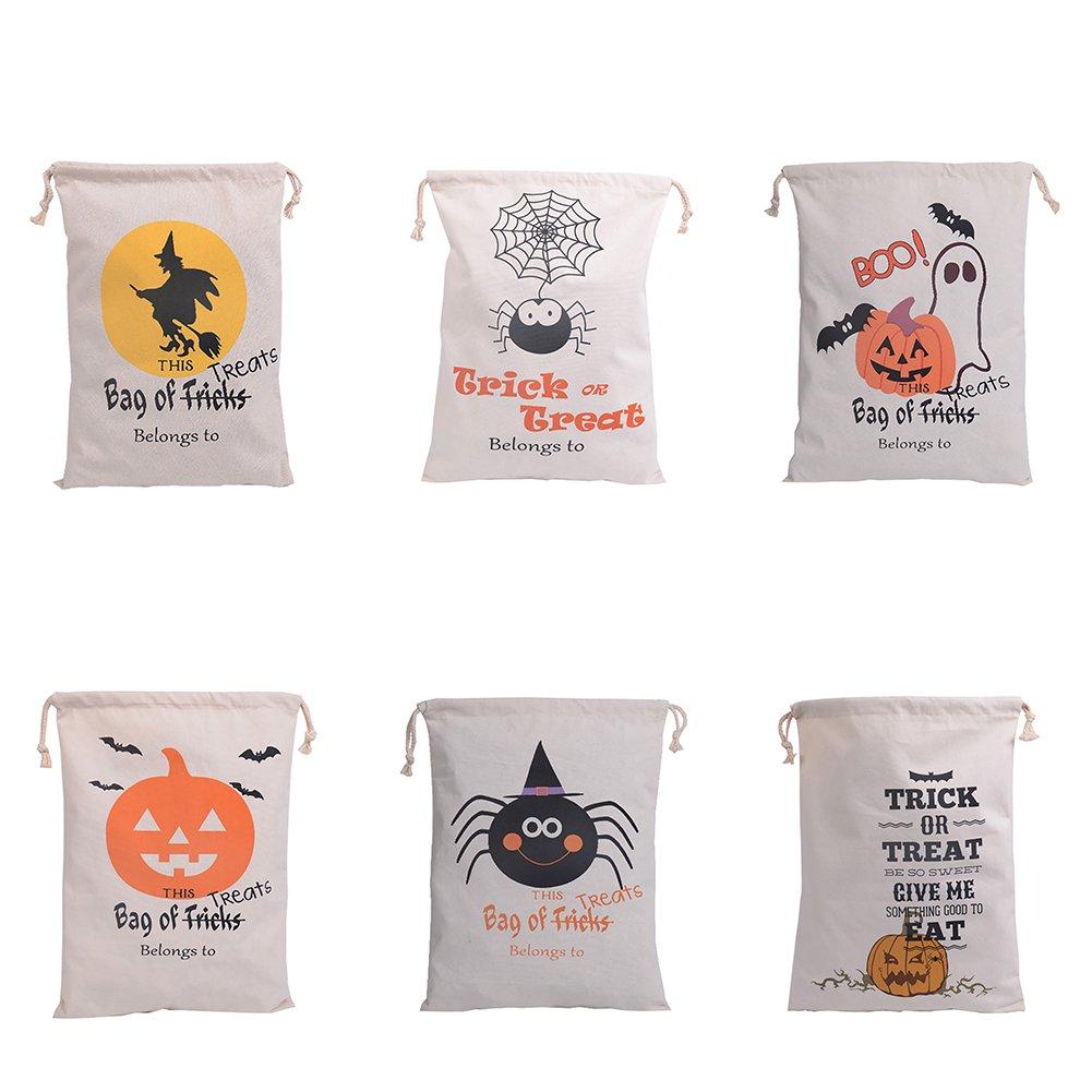 aspire Wholesale Halloween - Bolsas de Lona con cordón para Almacenamiento de Dulces Reutilizables, Colores Variados, Talla única