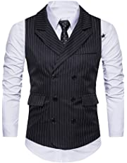 GOMY Men's Suit Vest Stripe V-neck Slim Fit Double Breasted Lapel Tailored Business Dress Waistcoat