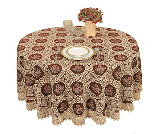 Simhomsen Vintage Burgundy Lace Tablecloth Embroidered Round Table Linen (round 70 by 70 inch)