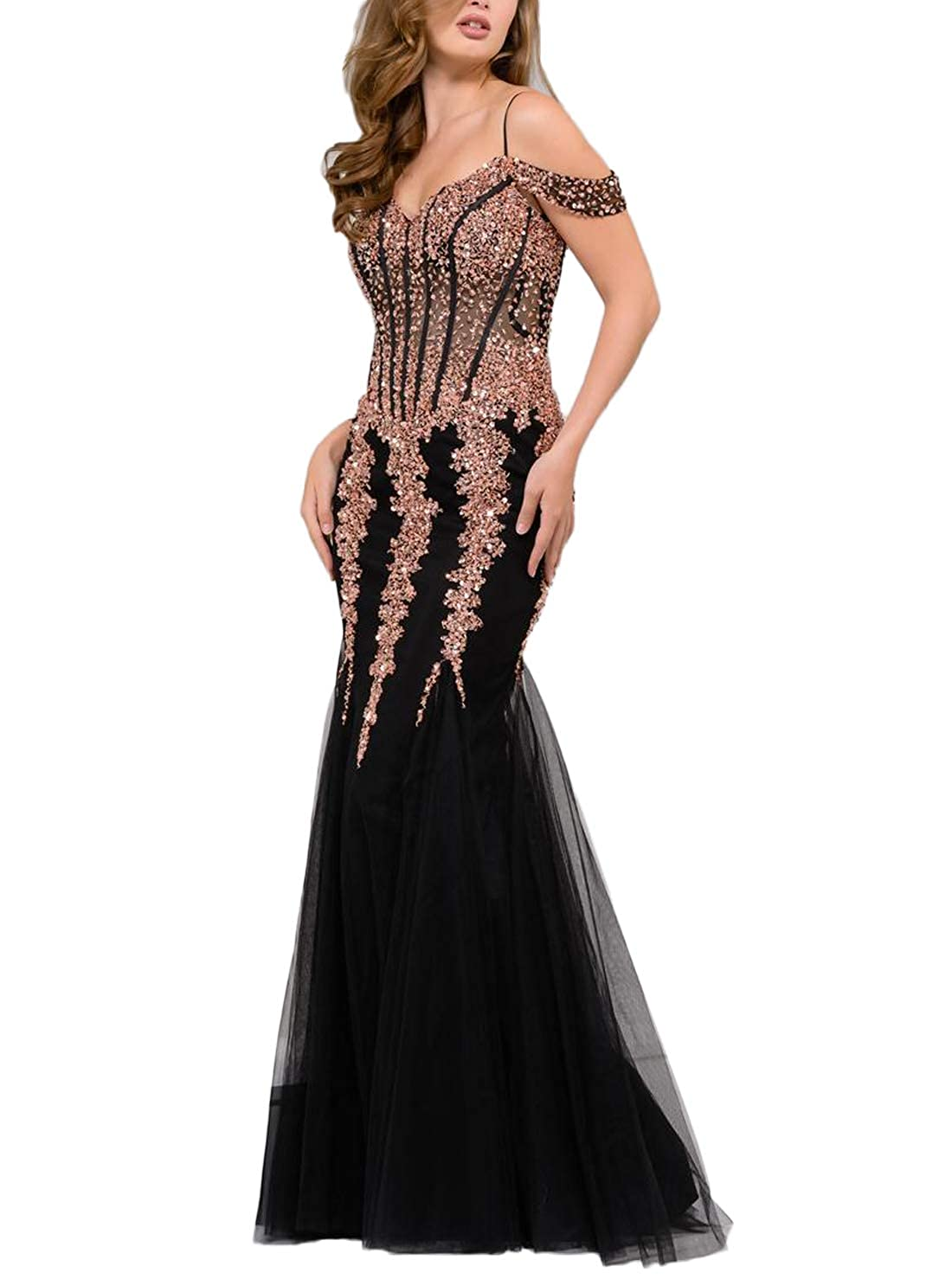Black Yisha Bello Women's Off The Shoulder Crystal Beaded Mermaid Pro Dress Long Tulle Formal Evening Party Gowns