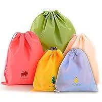 BINGONE Ensemble de 5 sac étanche à cordon PE plastique pliable Sport Home Voyage de stockage Utilisation