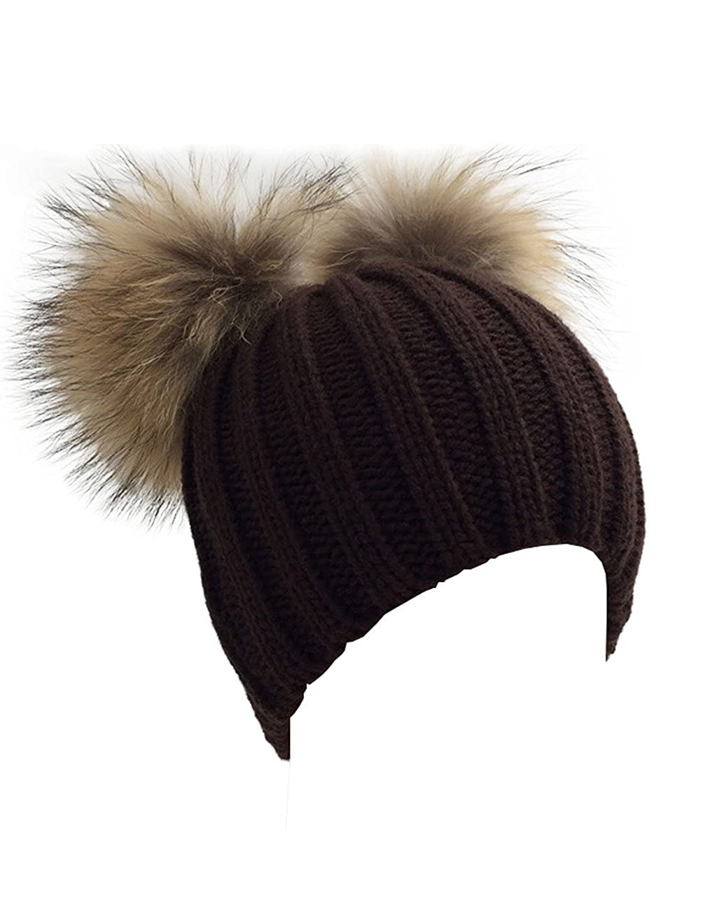 XWDA Women's Crystal Knitted Raccoon Fur Double Pom Beanie Hat Ski Cap Free Size)