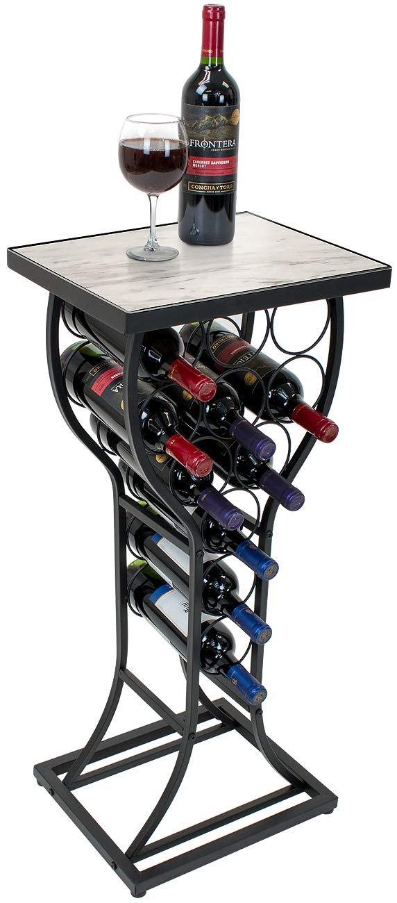 Sorbus Marble Wine Rack Console Table – Freestanding Wine Storage Organizer Display Rack for Small Spaces, Holds 11 Bottles, Metal with Faux Marble Finish (Marble Wine Rack – White)