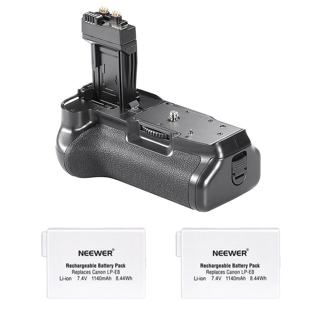 Neewer Pro Battery Grip (Replacement for BG-E8) for Canon EOS 550D/600D/650D/700D Rebel T2i/T3i/T4i/T5i + 2x 7.4V 1140mAh LP-E8 Replacement Battery