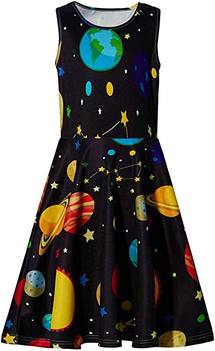 Hstore Youth Teen Kids Girl Sleeveless Planets Print Dress School Party Sundress Clothes