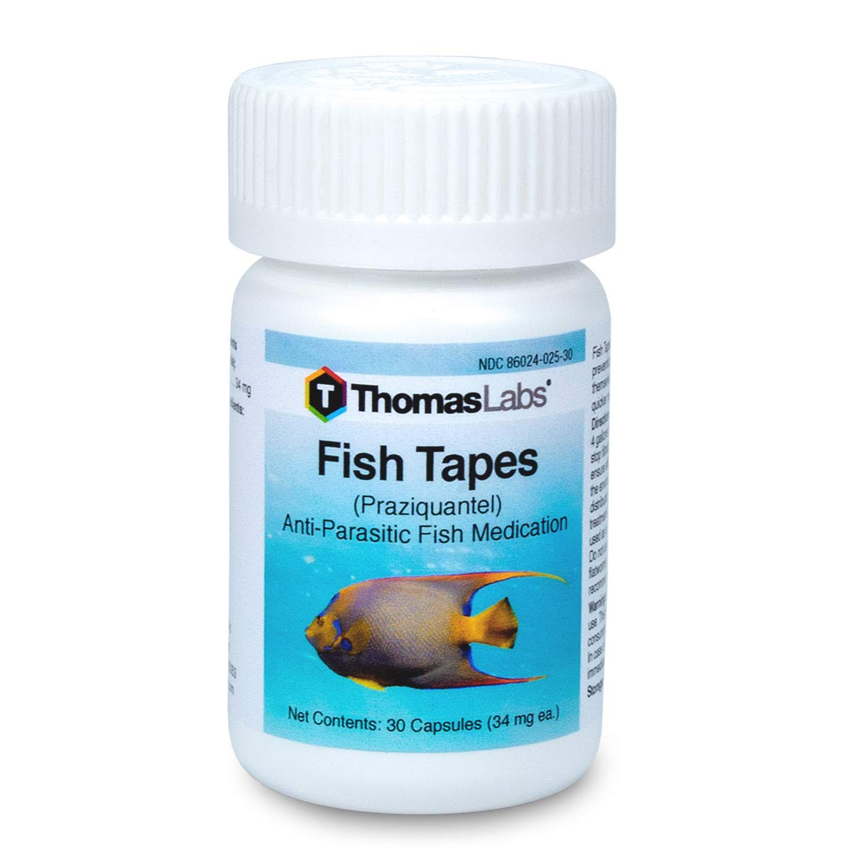 Thomas Labs Fish Tapes - Anti-Parasitic Fish Medication - Praziquantel for Fish - For Tapeworms & Flukes - (34 mg, 30 Capsules) by Thomas Labs