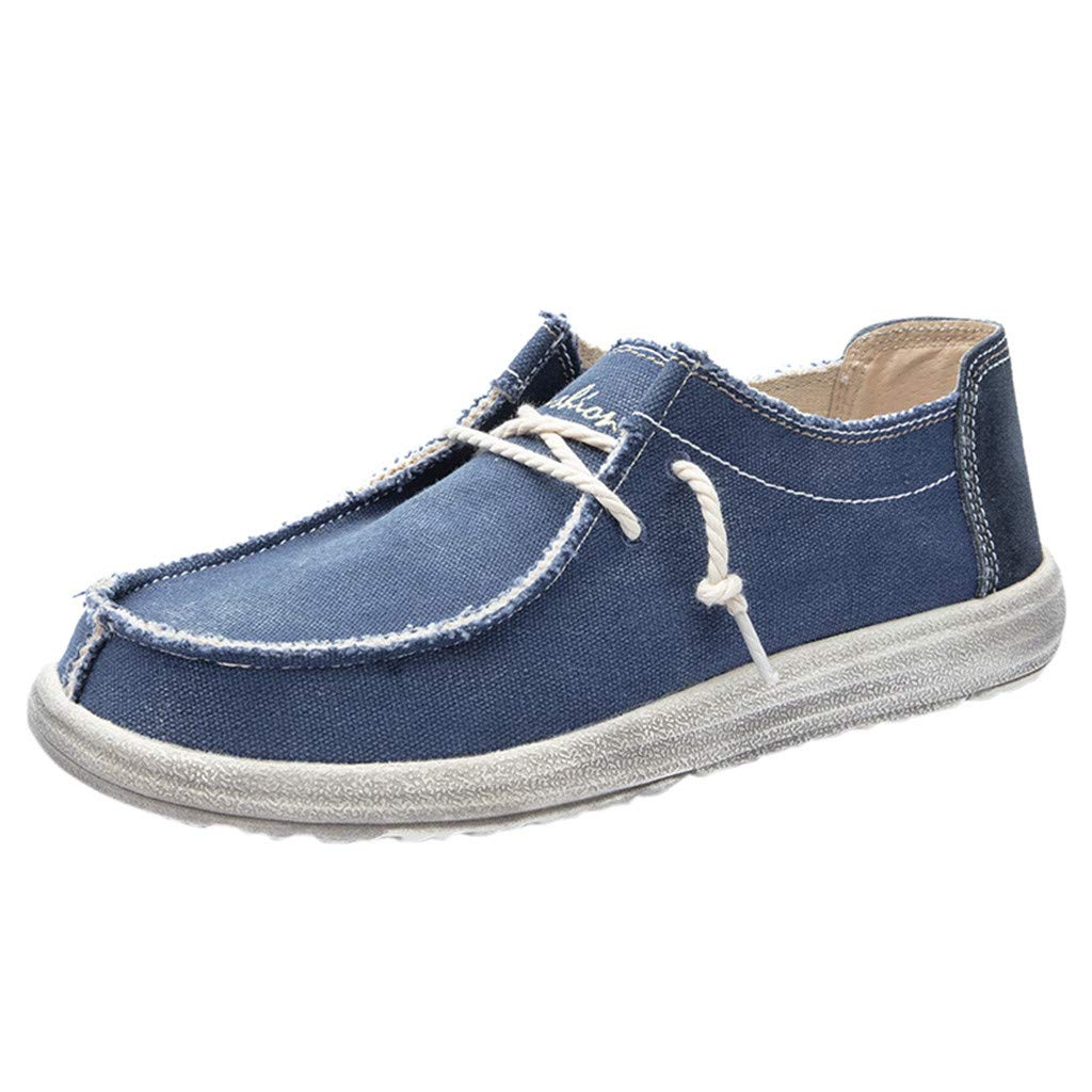 ZOMUSAR Men Canvas Breathable Casual Driving Shoes Slip Easy to Wear Flat Shoes Loafers Blue by ZOMUSAR
