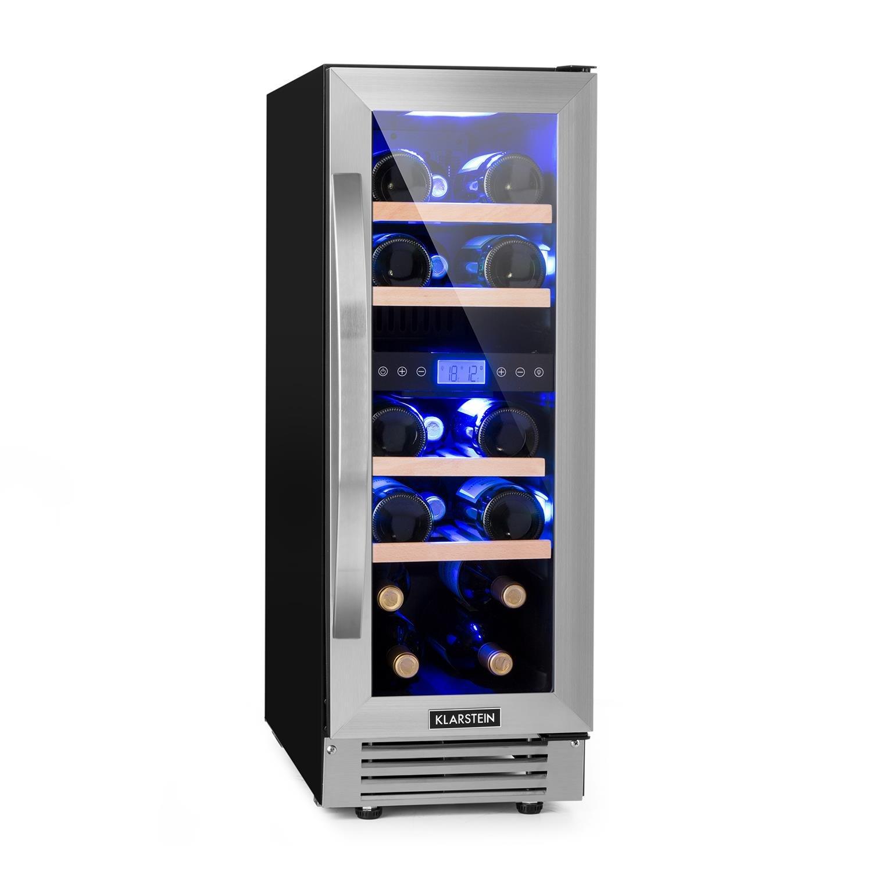 Klarstein Vinovilla Grande Duo • Frigorifero per vino • 425 L • 165 bottiglie • 12 ripiani • Touch Control • Luci a LED in 3 colori • Porta bicchiere di vino • 2 zone • Temperatura regolabile • Nero