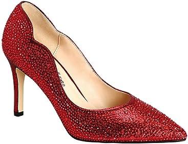 08c475f26b De Blossom Collection Blsm Women's Josie-2 Glitter Rhinestone Dress Shoes -  High Stiletto Heels