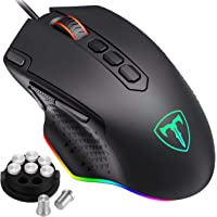 PICTEK Customizable RGB Backlit Gaming Mouse Wired, 10 Programmable Buttons, 12000 DPI, Fire & Sniper Button, Weight and Balance Tuning, Lag-free Ergonomic Game USB PC Computer Mice