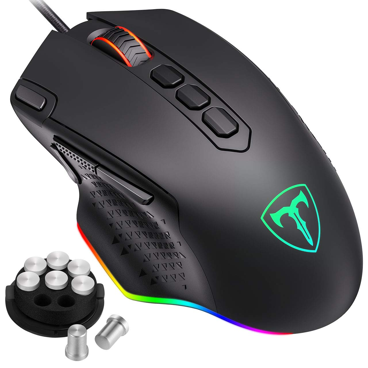 PICTEK RGB Gaming Mouse, Wired Mouse Gaming with Weight Tuning Set in the Mouse, Fire & Sniper Button, 10 Programmable Buttons, 12000 DPI, Computer Mouse for Laptop, USB Mouse with 1.5m cable for Windows PC Gamer