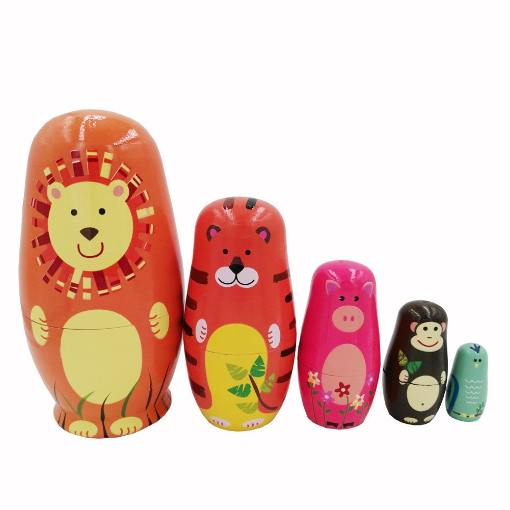 Echodo 5pcs Handmade Animal Nesting Dolls Authentic Russian Wooden Matryoshka Dolls Cute Cartoon Animals Pattern Nesting Doll Toy Gift by Echodo (Image #4)