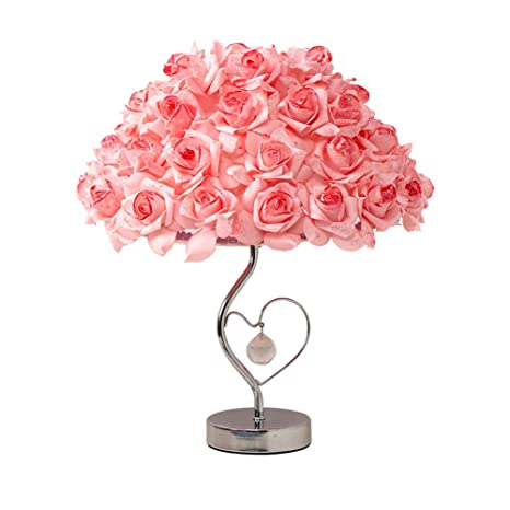 European Table Lamp Rose Flower Night Light Bedside Lamp Home Wedding Party Decor Decoration Lights Valentines Day Gift Desk Lamps