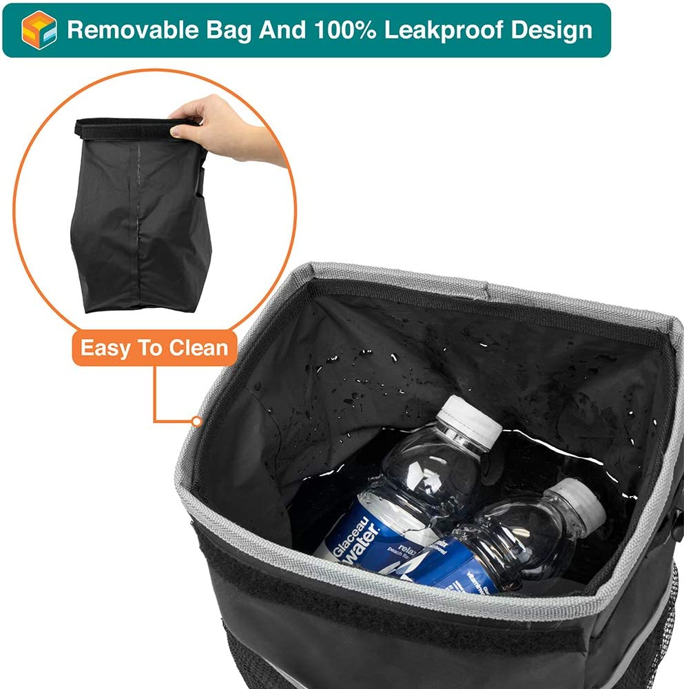 Back Seat Console Black SUN CUBE Car Trash Can with Lid and Removable Leakproof Lining Waterproof Hanging Trash Bin with Storage Pockets for Headrest Portable Car Organizer Garbage Can
