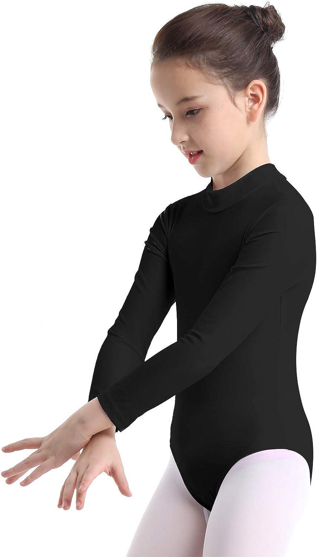 iEFiEL Kids Girls One Piece Long Sleeves Leotard Mock Neck Gymnastics Ballet Dance Costume Jumpsuit Bodysuit Dancewear