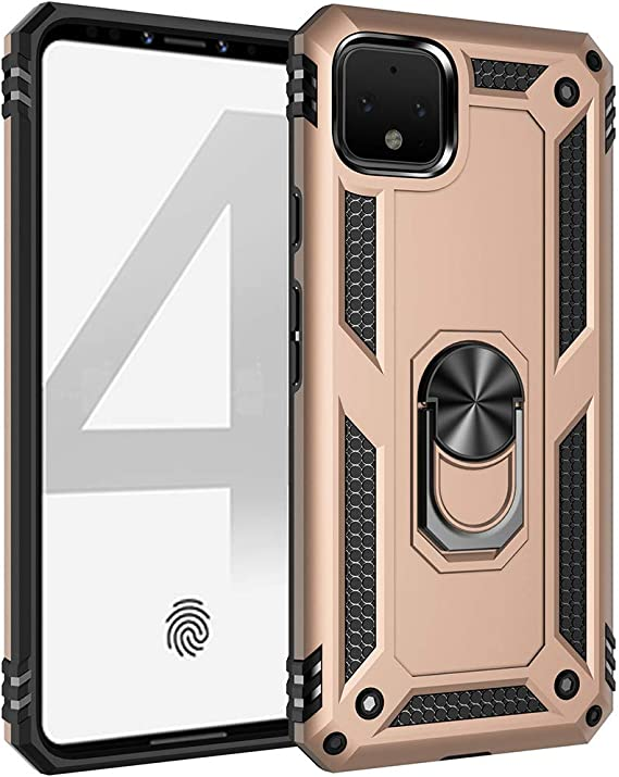 Google Pixel 4A Case,ZYZX Military Grade Drop Impact Metal Rotating Ring Magnetic Car Mount Ring Holder Stand Phone Case Holder Mount Armor Heavy Duty Shockproof Cover for Google Pixel 4A JS Red