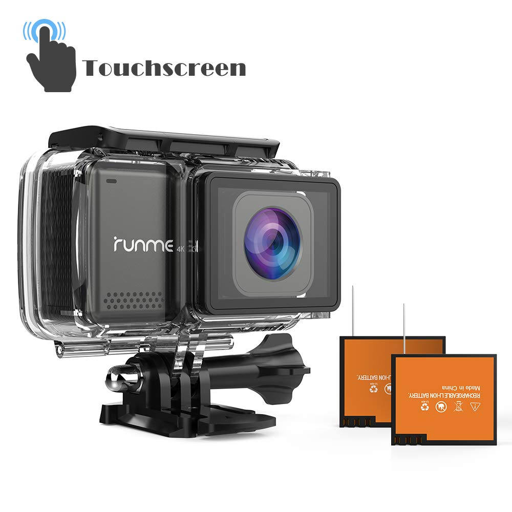 "RUNME R3 2.45"" Touchscreen 4K 16MP Wi-Fi Action Camera, Sony Image Sensor, 30M Water Resistant Camcorder with 170° Wide-angle Lens, Sports Cam with Accessories Kit & 2 Rechargeable Batteries (Grey)"