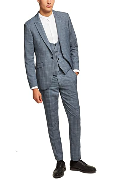 Newdeve Men\u0027s 3 Pieces Grey Checked Slim Fit Suits One