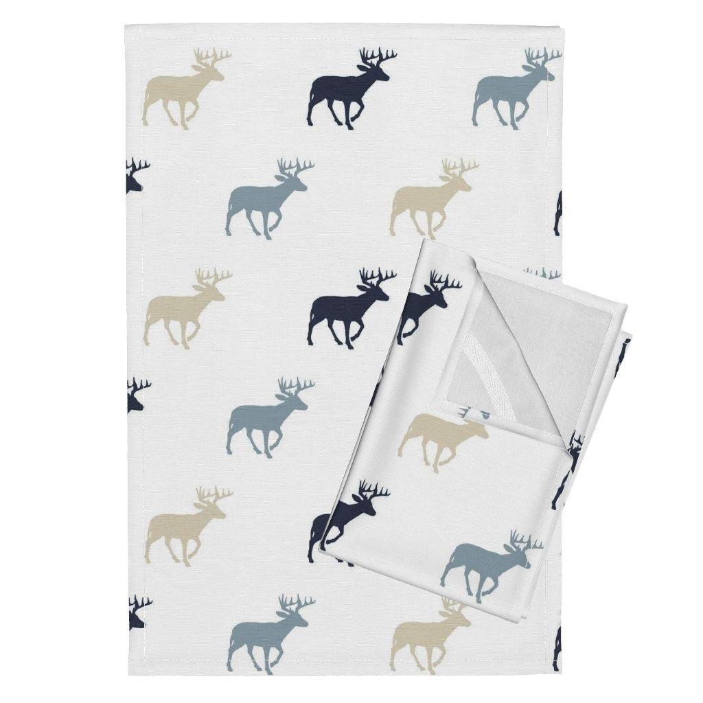 Roostery Rustic Woods Woodland Deer Buck Stag Antlers Tea Towels Multi Buck Blue Rustic Woods by Littlearrowdesign Set of 2 Linen Cotton Tea Towels