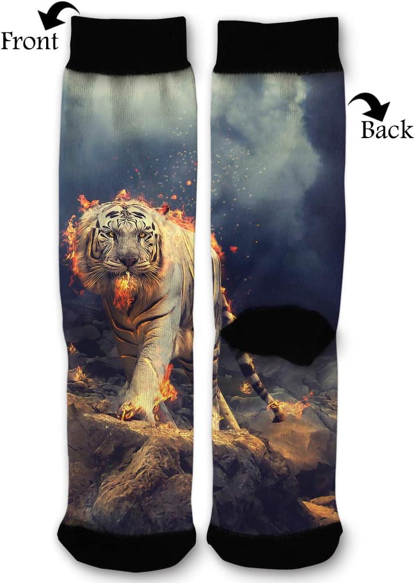 LBBDz Flame Bengal White Tiger Walking Mens Dress Crew Socks Casual Business Socks