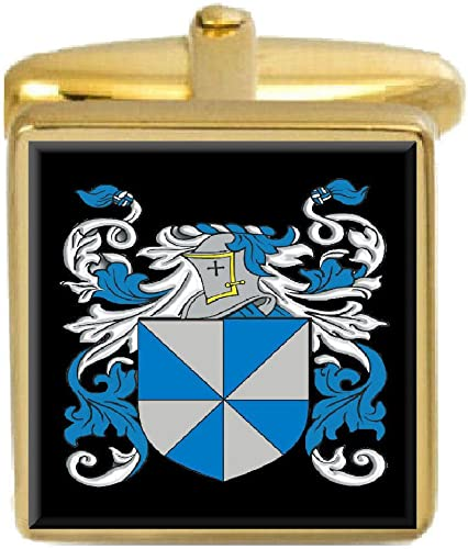 Select Gifts Kidd England Family Crest Surname Coat Of Arms Gold Cufflinks Engraved Box