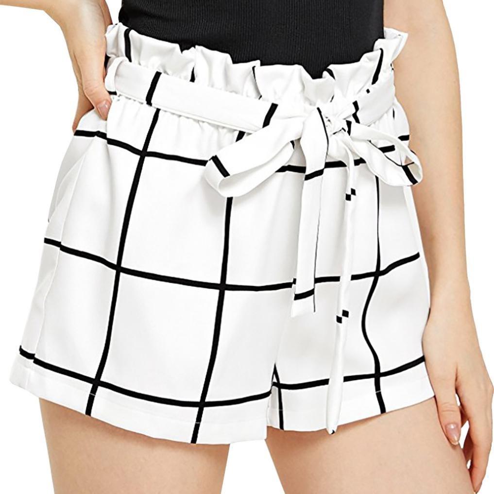 Pervobs Women Shorts Big Promotion! Womens Plaid Mid Waist Loose Shorts Flat Sports Drawstring Hot Pants Jersey Walking Shorts (S, White)
