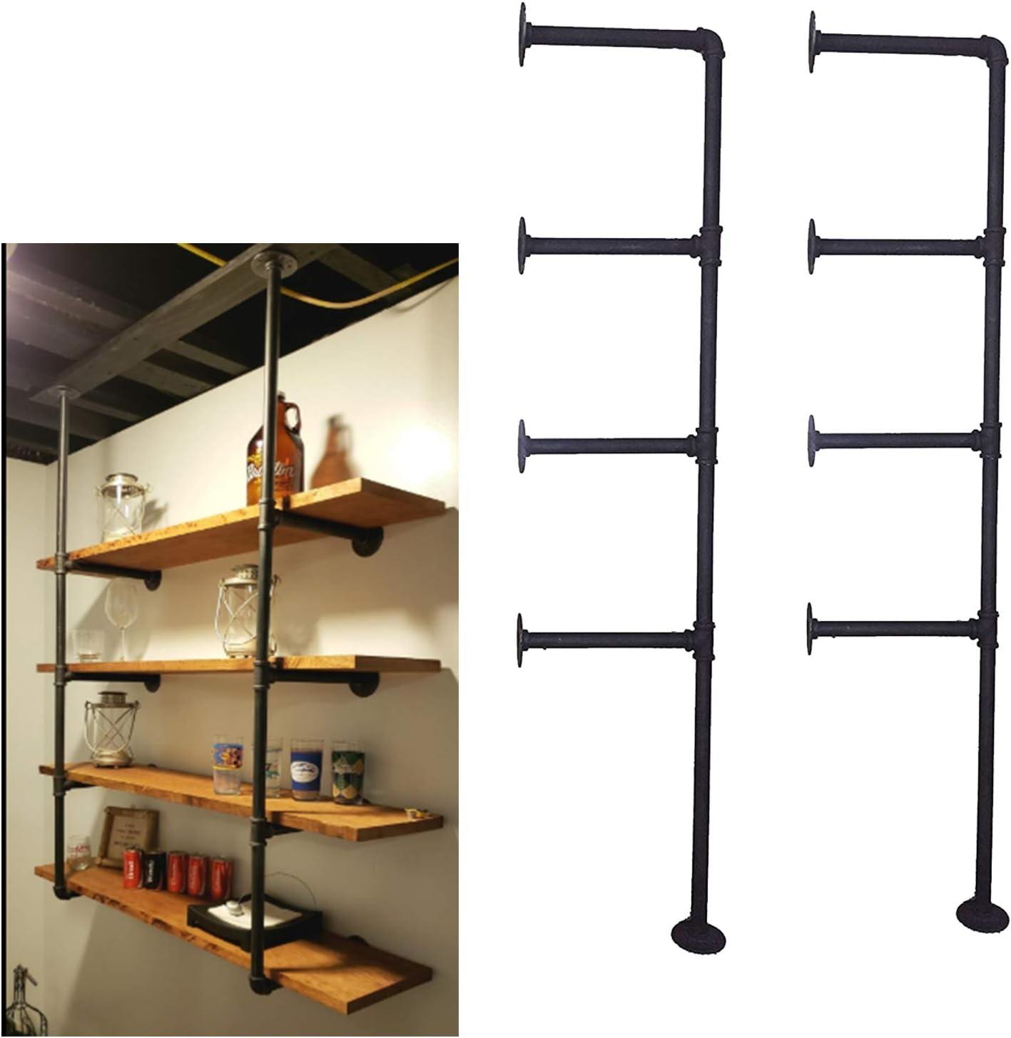 FUQI 4-Shelf Bookcase, Industrial Retro Floating Wall Mount Iron Pipe Shelf, DIY Storage Shelving Bookshelf (2 pcs)