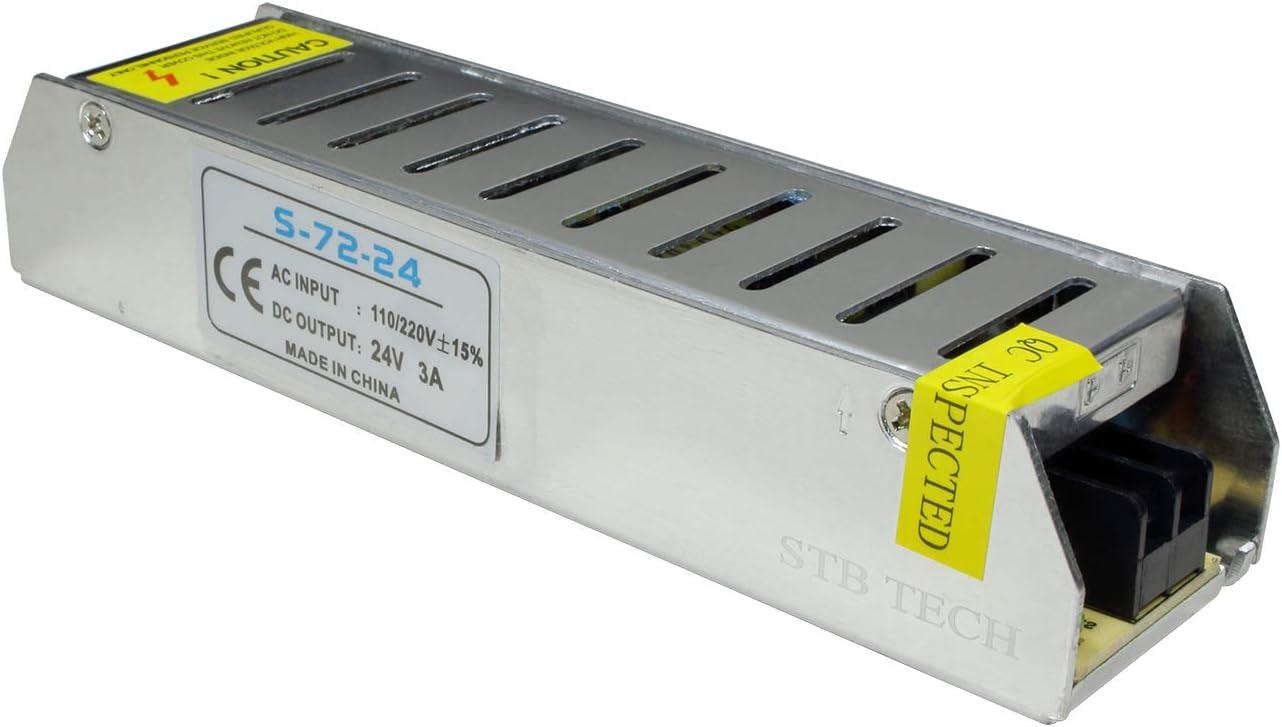 STBTECH 24V 3A 72W Fuente de alimentación conmutada 220V AC a DC 24V transformador convertidor Voltaje Adaptador Para Tira de LED Light,Pantallas LED,Sistema de Vigilancia