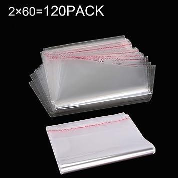 [120 unidades] 15.5 x 24cm y 21.5 x 33cm Combinación A4 A5 Sellado Transparente Bolsas autoadhesivas OPP Bolsas de celofán Bolsa de plástico duraderas ...