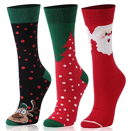 adaf7005f0c5 3 Pairs Men's Christmas Socks, Printed Fun Colorful Festive, TXXM Men's  Novelty Funny Fancy