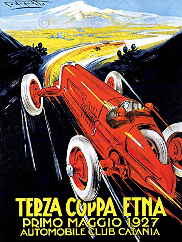 EXHIBITION SPORT MOTOR RACING CATANIA ITALY ETNA VINTAGE POSTER ART PRINT 12x16 inch 30x40cm 856PY by Wee Blue Coo Prints