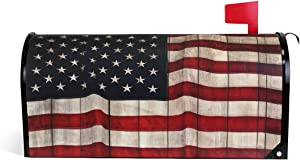 WOOR American Flag Painted Wood Wall Magnetic Mailbox Cover MailWraps Garden Yard Home Decor for Outside Oversized-25.5