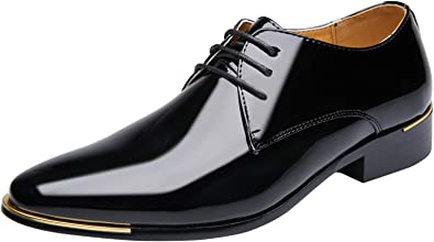 Casual Mens Pointy Toe Dress Formal Lace Up Oxfords England Patent Leather Shoes