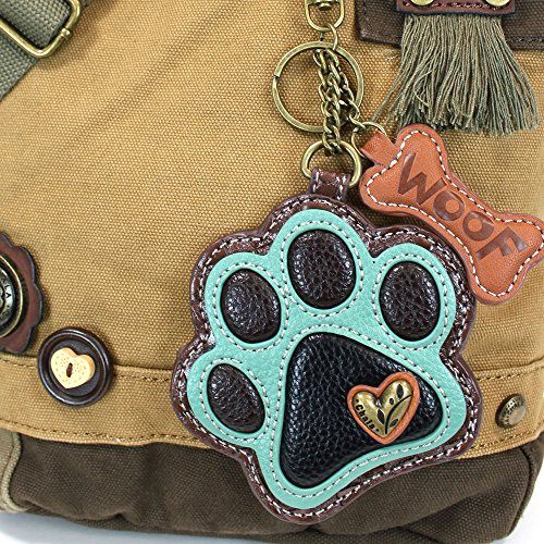 Crossbody Purse Paw handBags teal Teal with Keyfob Messenger Paw Brown Print Canvas Chala Coin 5vwxqZgZ