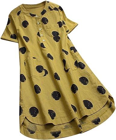 OPAKY Mujer Lunares O-Cuello en Capas Camisa de Manga Corta con Botones Blusa Larga Tops Camiseta Casual para Mujer Camisetas de Manga Corta de Blusa de Hebilla Camisas De Vestir: Amazon.es: Ropa