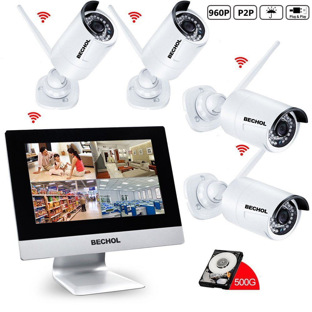 Bechol 960HD Wireless Security Surveillance IP Camera System 4CH WiFi NVR with 10.1'' LCD Monitor,and 4pcs Waterproof Video Inputs Security Camera 100ft Night Vision+500GB HDD+UL Adapter