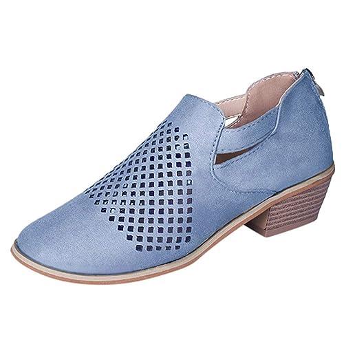 Bottes Bloc Talon Bottes Talon Creux Femme Bottine Chaussures Basse Plates Loafer Cheville Chic doCeErxWQB
