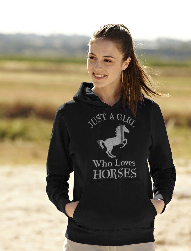 Tstars - A Girl Who Loves Horses Horse Lover Gift Women Hoodie Small Black by Tstars (Image #3)