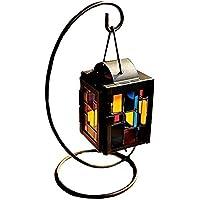 Leisial Hierro Candelero con Vidrio Colorido de Metal