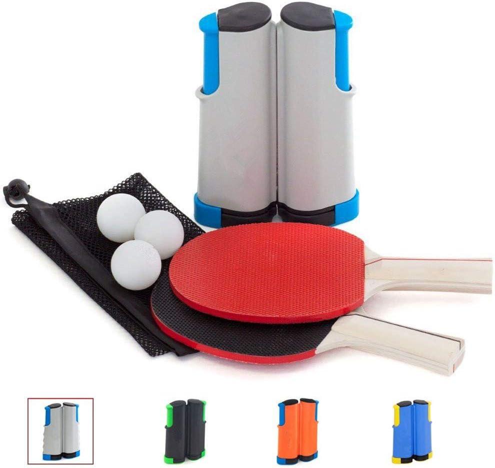 HJX888 Juego de Ping-Pong, Juego de Palas de Tenis de Mesa portátil, 2 Raquetas, 3 Pelotas, 1 Red de Tenis de Mesa, para Jugar en Interiores o al Aire Libre