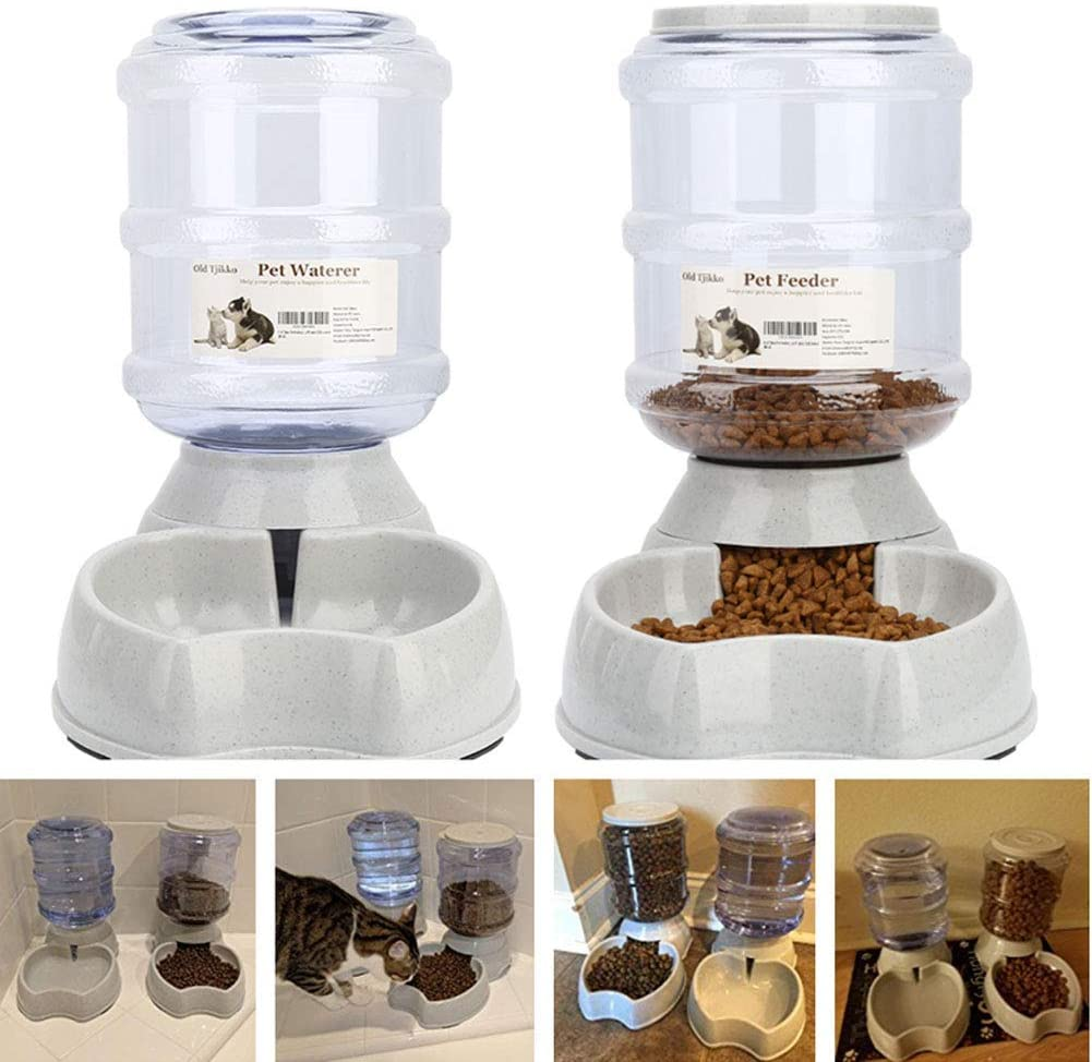 Pet Supplies : Blessed family Cat Water Fountain, Automatic Cat Feeder, Dog Water Dispenser, 1 Gal Pet Automatic Feeder Waterer (Waterer+Feeder) :