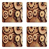 Ambesonne Industrial Coaster Set Four, Inside The Clocks Theme Gears Mechanical Device Image in Steampunk Style Print, Square Hardboard Gloss Coasters Drinks, Cinnamon