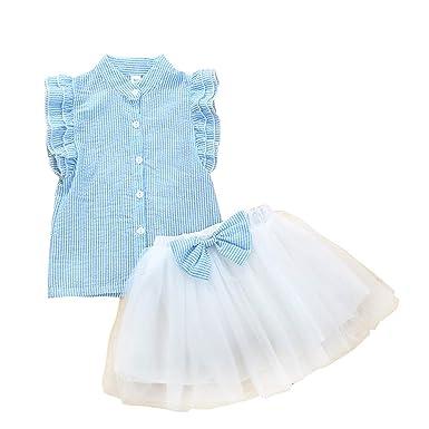 Conjuntos Bebé Niña Camisa de rayas sin mangas y Falda de tutú 2 ...