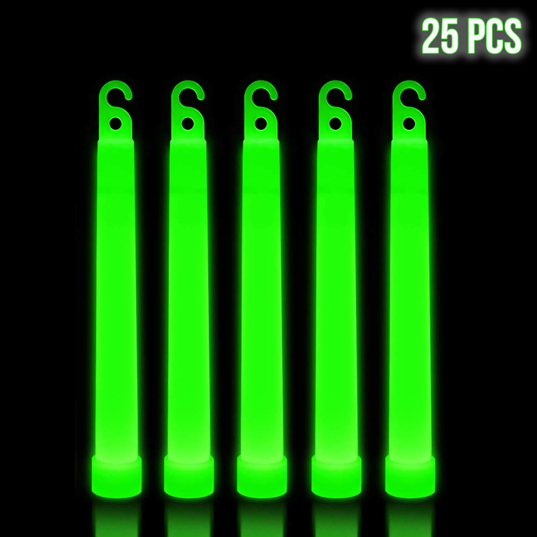 Lumistick 6 Inch Premium Glow Sticks | 15mm Thick Flat Bottom Illuminating Emergency Sticks | Kids Safe, Waterproof & Non-Toxic Light Up Neon Sticks for Camping & Hiking (Green, 25 Glow Sticks)