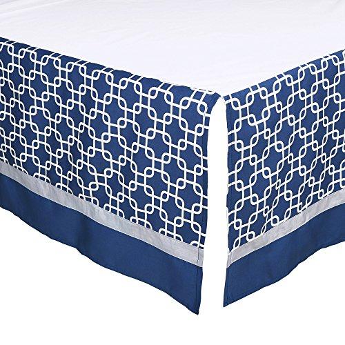 (Navy Blue Geometric Print Tailored Crib Dust Ruffle by The Peanut Shell )