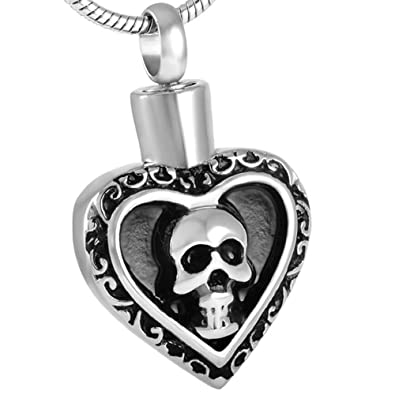 Human skull heart urn cremation jewelry ashes pendant keepsake human skull heart urn cremation jewelry ashes pendant keepsake memorial necklaces mozeypictures Images