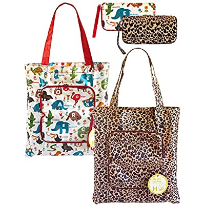 2 Pack Eco Durable Light Weight Shopping Bags, Leopard and Animal durable modeling