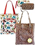 2 Pack Eco Durable Light Weight Shopping Bags, Leopard and Animal