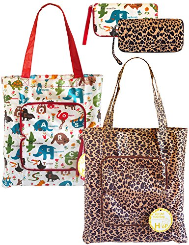 2 Pack Eco Durable Light Weight Shopping Bags, Leopard and Animal by HOP