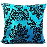 large flock damask cushion + covers in 8 beautiful colours (teal, filled cushion)